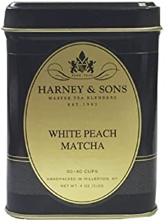 Harney & Sons White Peach Matcha Tea, Loose 4 Ounce tin