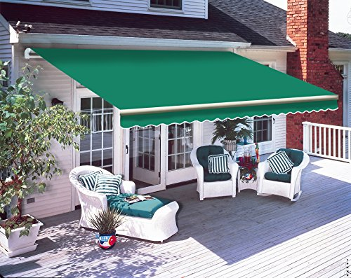 Greenbay 2.5 x 2m DIY Patio Retractable Manual Awning Garden Sun Shade Canopy Gazebo Green with Fittings and Crank Handle