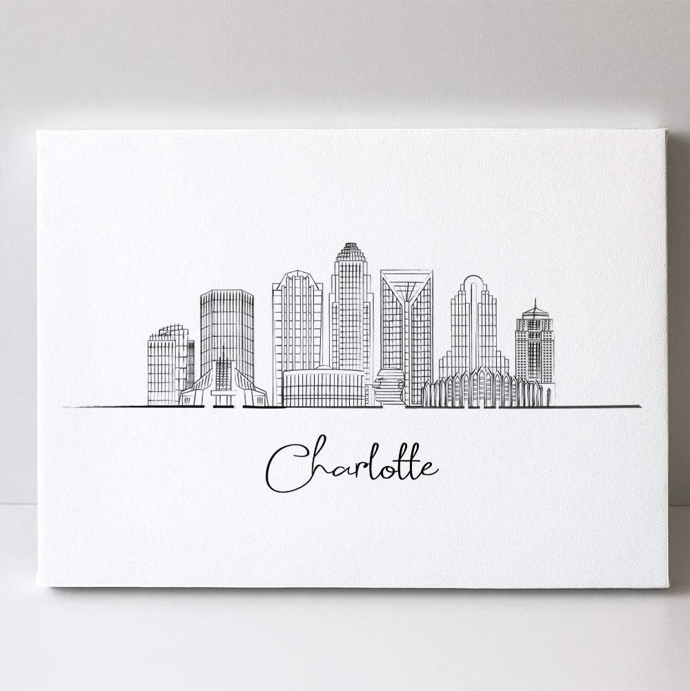 Max 56% OFF Charlotte City North Carolina Line Regular discount Art Landscape US - Skyline