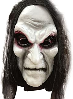Halloween Zombie Mask Props Grudge Ghost Hedging Zombie Mask Realistic Masquerade Halloween Mask Long Hair Ghost Scary Mask Two Weeks Arrive White and Black