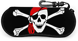 Pirate Skull Bones Sunglasses Soft Case Ultra Light Weight Neoprene Zipper Eyeglass Case With Belt Clip, Portable Neoprene Eyeglass Holder Soft Pouch