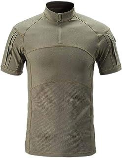 AKARMY Men's Tactical Military Combat Short Sleeve Camo Shirt with 1/4 Zipper