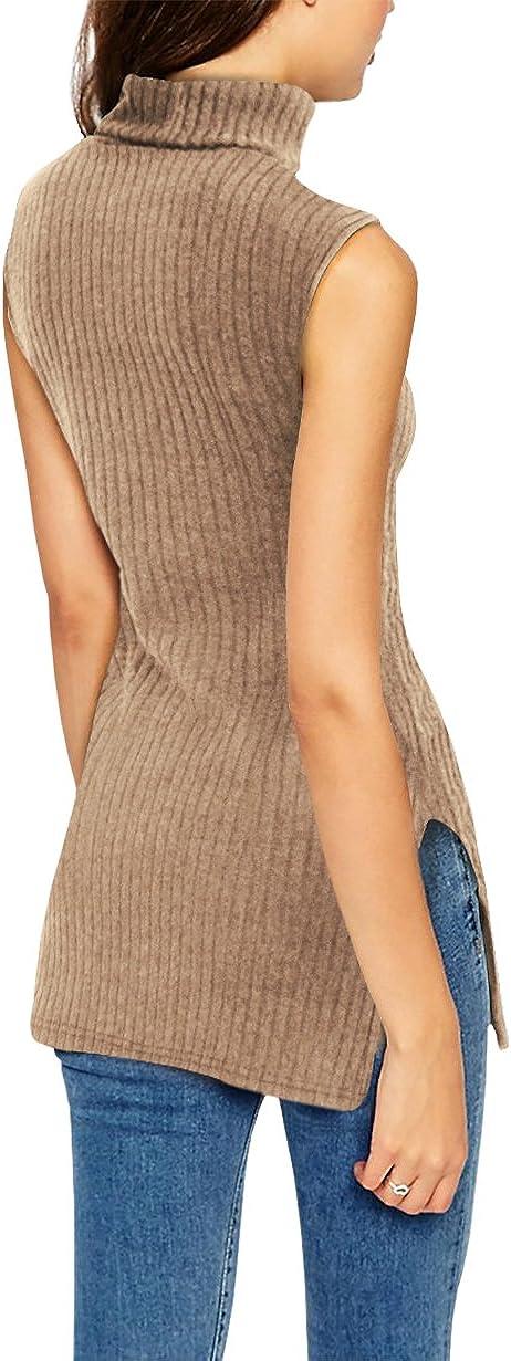 Hybrid & Company Womens Super Comfy Sleeveless Turtleneck Tunic Sweater