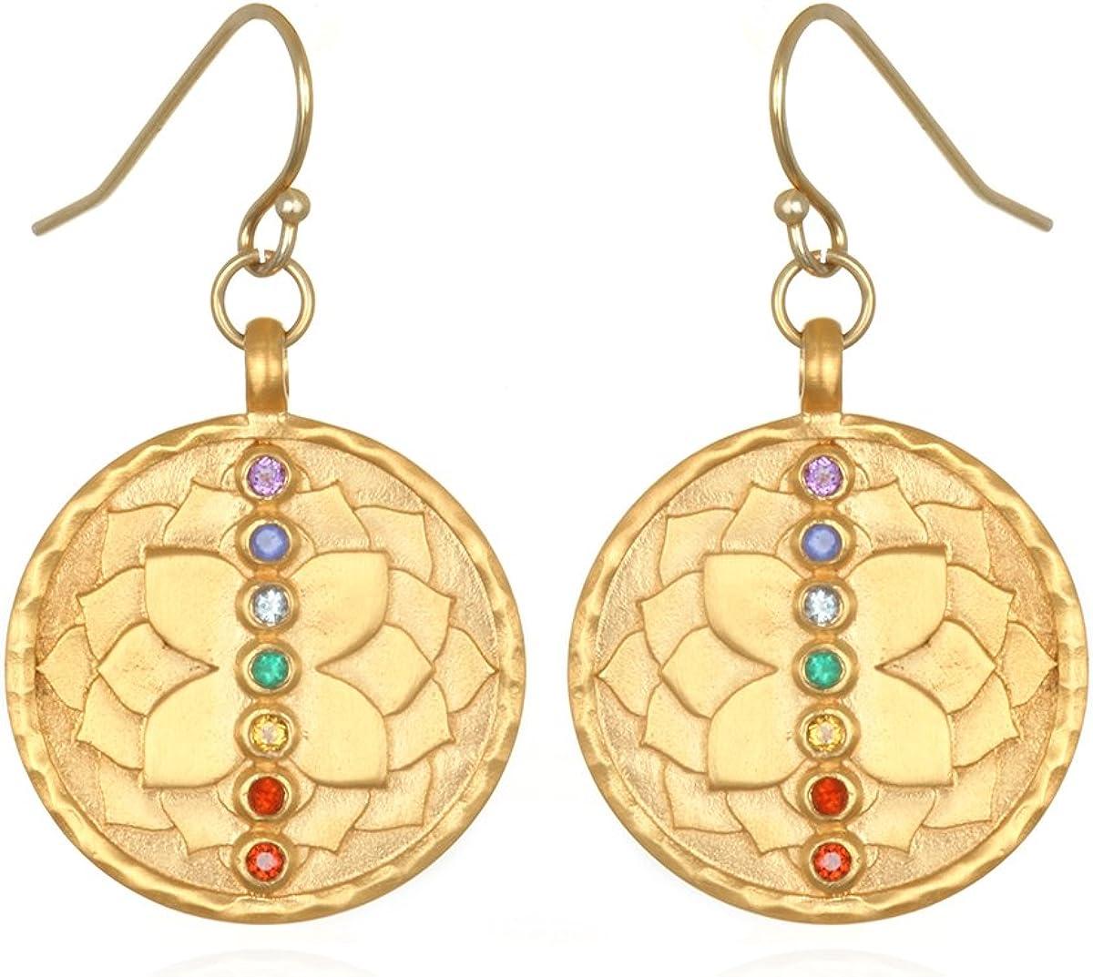 Multi Stone Gold Chakra Drop Earrings, Multi, One Size