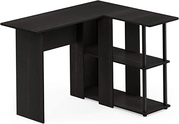 Home Abbott L Shape Desk With Bookshelf Espresso Black Office D Cor Studio Living Heavy Duty Commercial Bar Caf Restaurant