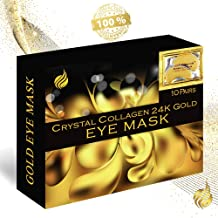 Under Eye Bags Treatment, Eye Mask for Dark Circles, Collagen Eye Pad, Anti-Wrinkle Patches, Gel Mask for Puffy Eyes, Anti-Ageing, Moisturizing, Dark Circle Remover, Crystal Collagen 24K Gold Eye Mask