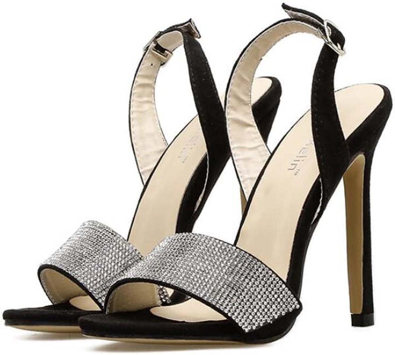 11cm Stiletto Open Toe D'Orsay Slingbacks Ankle Strap Sandals Dress shoes Women Pump colormatch Rhinestone Roma shoes OL Court shoes Party Sheos EU Size 34-40