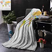 ZSUO Soft Blanket Microfiber Highly Detailed Political Map of The World Global Positioning System Graphic Colorfu Lightweight Microfiber,All Season for Couch or Bed 60