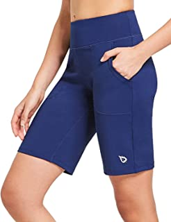 BALEAF Women's Mid-Rise Bermuda Shorts Running Long Shorts Lounge Workout with Pockets