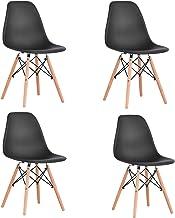 KunstDesign Set de 4 Sillas de Comedor, Diseño Ergonómico,Patas de Madera de Haya Natural (Negro)