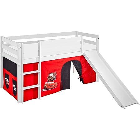Lilokids Lit Mezzanine JELLE Disney Cars -lit d'enfant Blanc - avec Toboggan et Rideau - lit 90x200 cm