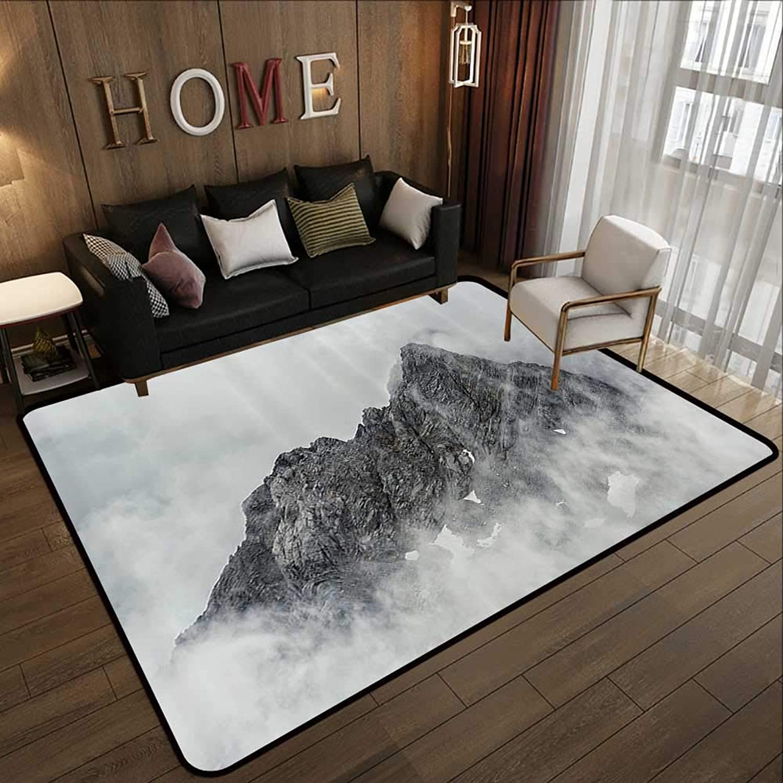 Carpet mat,Farmhouse Decor,Landscape of Jade Dragon Mountain Atmosphere on Summit Asian Natural Beauty,White Grey 47 x 59  Floor Mat Entrance Doormat