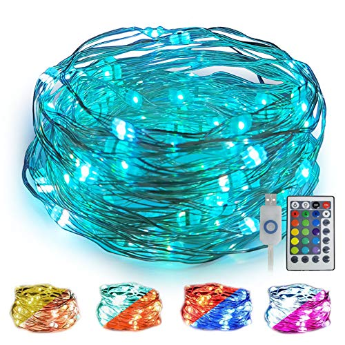WOWDSGN Multicolored Guirnalda Luces 10M 100 LED,cadena de luz USB para interior y exterior, IP67 impermeable, 8 modes luces de ambiente para habitación, Navidad, fiesta, boda, bricolaje, etc