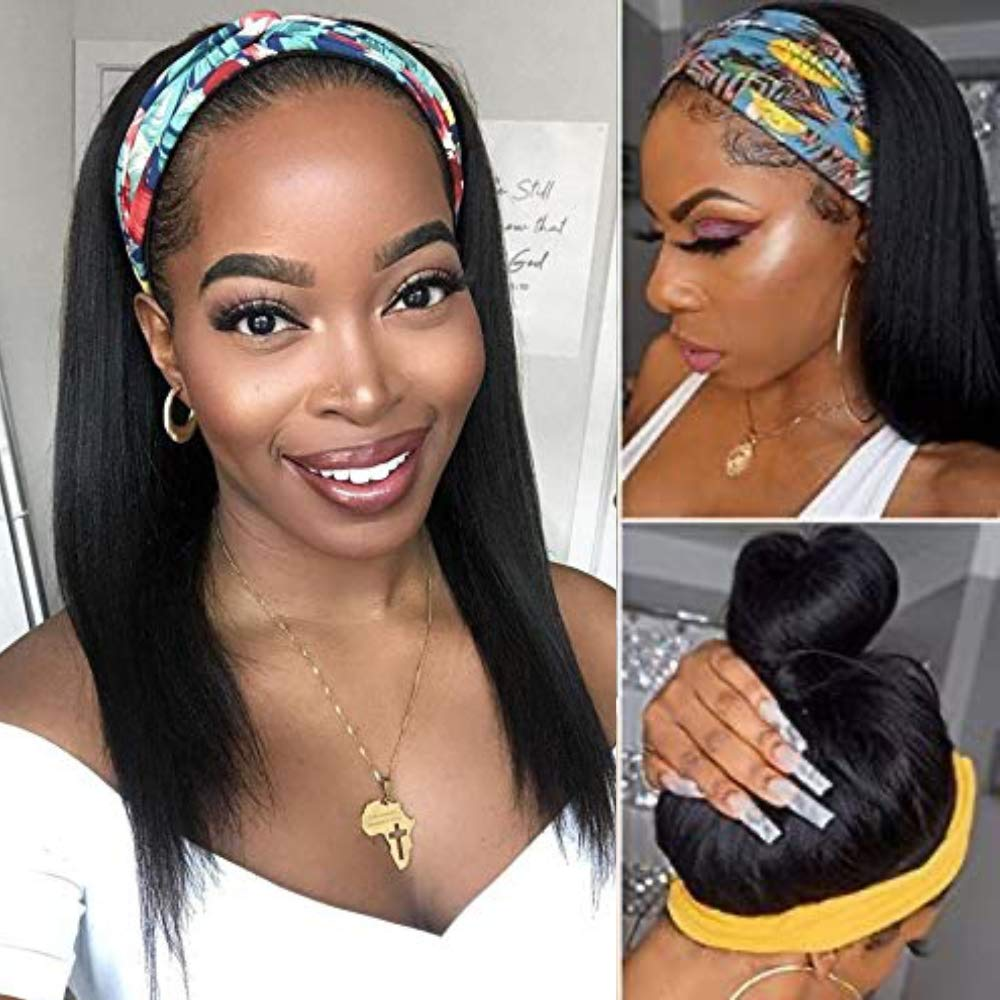 AISI Cheap mail order sales HAIR Headband Wig Human Hair Inch Str Straight 20 Grade 10A Safety and trust