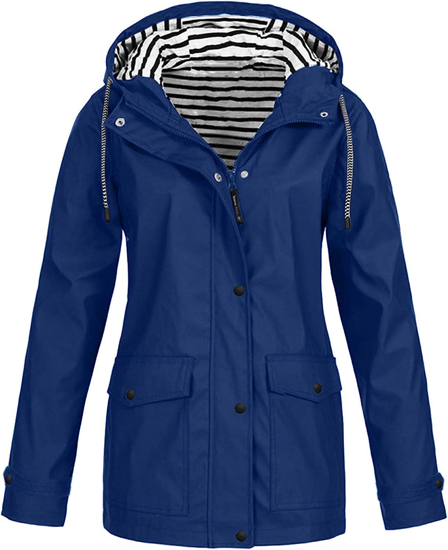 Women Solid Rain Jackets Plus Size Waterproof Hooded Raincoat Windproof Outdoor Lapel Button Down Fleece