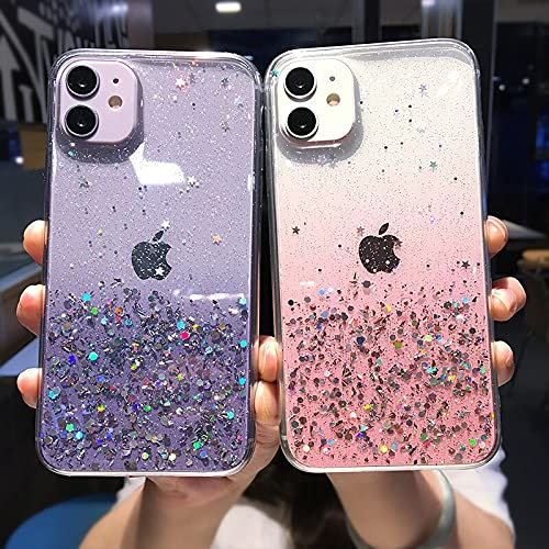 Aplicar a la funda transparente del teléfono del brillo para el iphone 12 pro 11 pro max xs max xr x 7 8 plus 12 mini se 2020 lindo gradiente arco iris lentejuelas coke