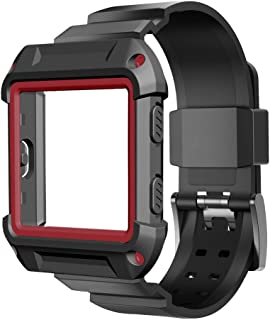 UMTELE for Fitbit Blaze Accessory, [Rugged Pro] Resilient Protective Case with Strap Bands for Fitbit Blaze Smart Fitness Watch (Red)