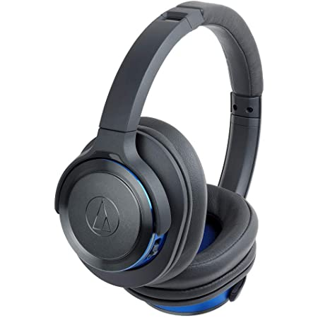 Audio-Technica ATH-WS660BTGBL Solid Bass Bluetooth Wireless Over-Ear Headphones with Built-In Mic & Control, Gunmetal/Blue (Renewed)