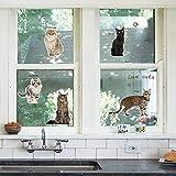 WandSticker4U-'I Love Cat' 12x Katze Aufkleber | Wandtattoo Haustiere WC Türaufkleber Fliesensticker Fenster Sticker Deko für Küche Badezimmer Garten Tür Kinder Katzenliebhaber
