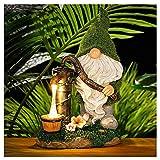 Gartendeko Figuren Gnome Statue Solar Leuchte, Gartenzwerg-Statue Dwarf Statue-Resin Dwarf Statue, Harzstatue mit Solar-LED-Lichtern, Gartenfiguren für Zwergstatuendekoration,Balkon,Garten,Rasen (A)