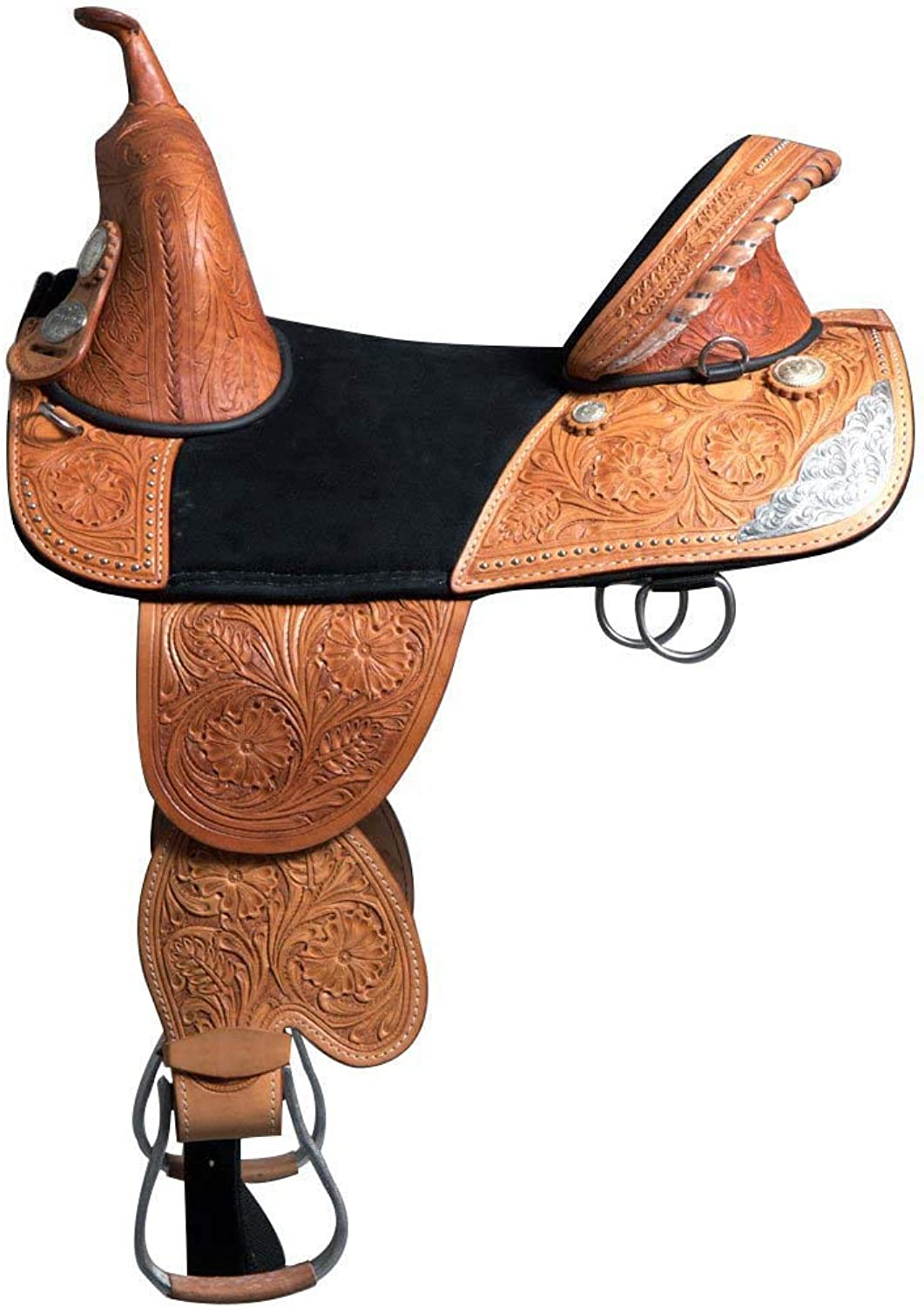 ME Enterprises Adult Western Pleasure Trail Barrel Racing Premium Leather TREELESS Horse Saddle Tack Size 14  to 18  Inches Seat Available (17  Inches Seat, TREELESS_01)