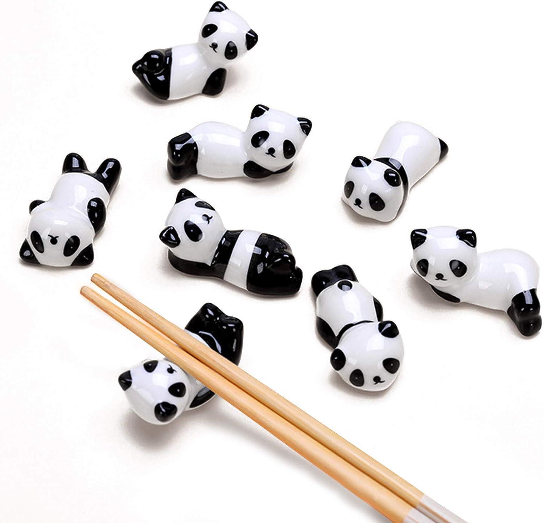 LdawyDE Soportes para Palillos, 8 Porta Palillos, apoya Cubiertos, Hecho de cerámica, cocido a Alta Temperatura, Forma Panda, Superficie Lisa, fácil de Limpiar, para Palillos, Tenedores (5 x 3 x 3cm)