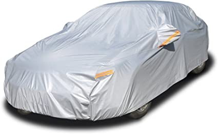 """Kayme 6 Layers Car Cover Waterproof All Weather for Automobiles, Outdoor Full Cover Rain Sun UV Protection with Zipper Cotton, Universal Fit for Sedan (194""""-208"""")"""