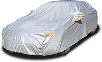 Kayme 6 Layers Car Cover Waterproof All Weather for Automobiles, Outdoor Full Cover Rain Sun UV Protection with Zipper Cotton, Universal Fit for Sedan (186