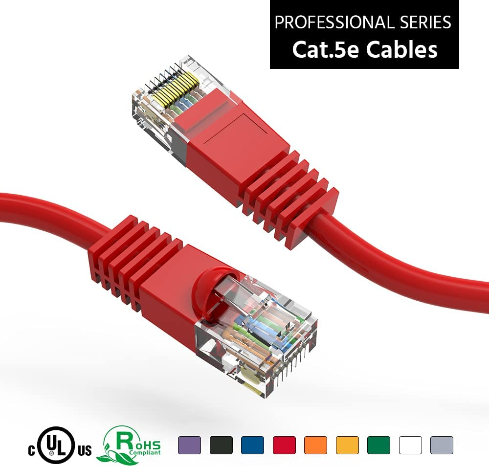 Popular brand ACCL 125Ft Cat5E UTP Ethernet Network All items free shipping Pack 1 Booted Red Cable