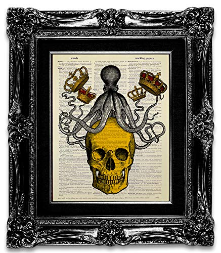 Skull King with Gold Crown and Octopus, Recycled Vintage Dictionary Art Print Printed on Upcycled...