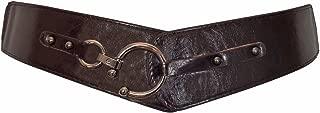 eVogues Plus Size Hook Buckle Faux Leather Wide Elastic Belt