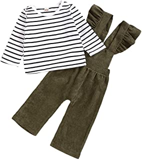 0-4 Años,SO-buts Recién Nacido Bebé Niñas Otoño Invierno Camiseta A Rayas De Manga Larga Tops Pantalones De Tirantes Casua...