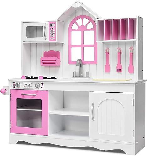 2021 Giantex Kids Wood Kitchen discount Playset Toy Cooking Pretend Toddler Wooden online Playset, Pink online sale