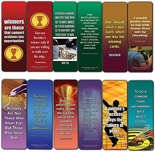 Winner Quotes Bookmarks Cards 12 Pack Success Motivational Sayings for Men Women Businessmen product image