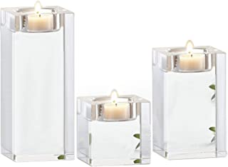 Le Sens Amazing Home Candle Holders Set of 3, 2.3/3.9/5.5 inches Height Elegant Heavy Crystal Cuboid Tealight Holder Clear Square Glass Cube Candle Holder for Ceremony Centerpiece and Home Decoration