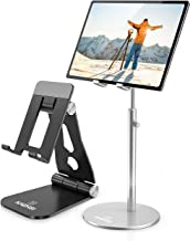 2Pack Height Adjustable iPad Stand - Silver and Cell Phone Stand - Black for Desk Compatible with All Smartphone iPhone 12 11 Xs XR 8 6 Plus Pro, Tablet iPad Mini Holder Stands Accessories