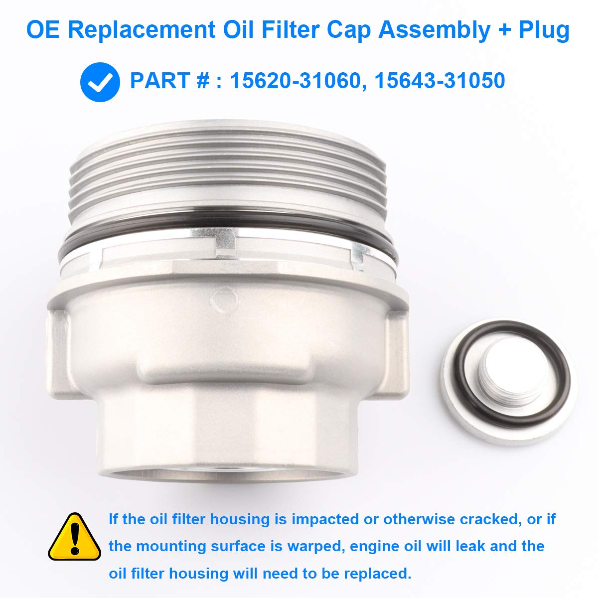 Amazon Com Oil Filter Housing Cap Assembly With Oil Plug Replace 15620 31060 1562031060 15643 31050 Compatible With Toyota 4runner Avalon Camry Fj Cruiser Highlander Rav4 Sienna Tacoma Tundra Venza More Automotive
