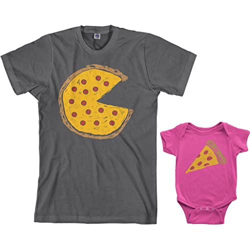 a089646c Threadrock Pizza Pie & Slice Infant Bodysuit & Men's T-Shirt Matching Set