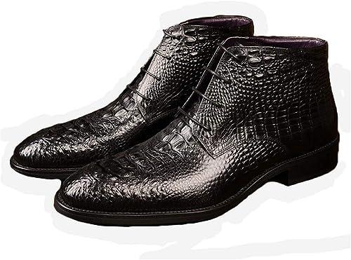 Jincosua - Stiefel de Piel para Hombre, Suela Suave y Antideslizante, Diseño de cocodrilo, schwarz, UK 8