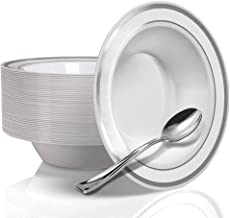 Stock Your Home 12 Oz Fancy Disposable Dinner Bowls for Holidays, Parties, Weddings, Catering, 50 Bowls and 50 Spoons (Silver)