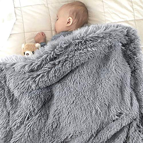 EMME Baby Blanket Super Soft Fuzzy Faux Fur Blanket Plush Warm Receiving Blanket for Girl and Boy Cozy Blanket for Crib, Stroller, Nap, Outdoor (Grey, 30'x40')