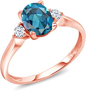 1.40 Ct Oval London Blue Topaz White Created Sapphire 10K Rose Gold 3-Stone Ring