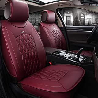 Black,Red,Beige Full Set Universal Fit 5 Seats Car 3D Surrounded Luxury Waterproof Pu Leather and Breathable Artificial Silk Car Seat Covers Trims for Sedan SUV (Red)