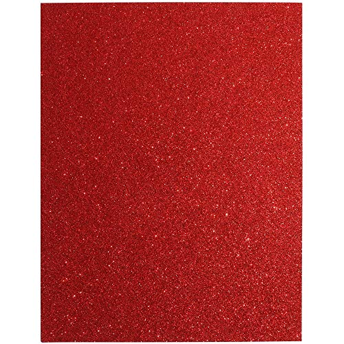 Bright Creations Glitter Cardstock Paper 24 Pack - DIY Glitter Craft Paper Red - 11 x 8.5 inches