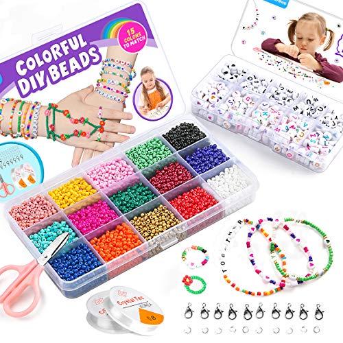 WuikerDuo Mini cuentas de cristal para los niños, Mini cuentas de vidrio para niños Abalorios para Hacer Pulseras,DIY Bracelet Arte y joyería-Making Fadeless Color