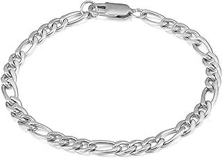 Mens Stainless Steel Bracelet Figaro Chain Bracelet 5mm 11mm Silver Biker Bracelet