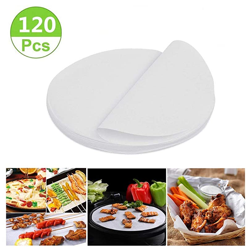 Air Fryer Liners, 9 inch Bamboo Steamer Liners, Premium Perforated Parchment Paper Sheets, Non-stick Basket Mat, Perfect for 5.3 & 5.8 QT Air Fryers/Steaming/ Baking/Cooking(120Pcs)