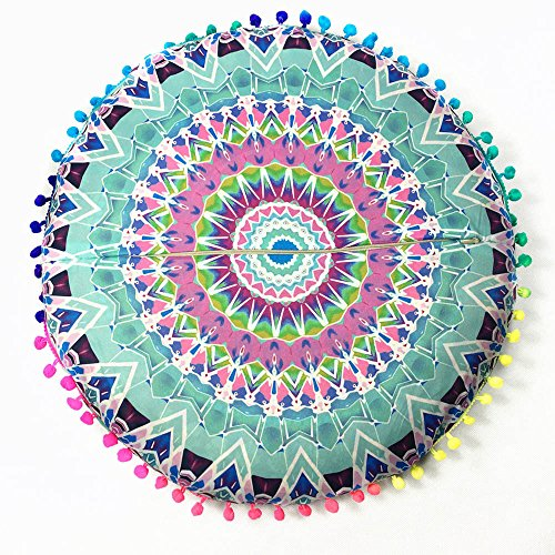 Bodenkissenbezug Kissenbezug Pouf-Bezug rund Bodenkissenhülle Meditationskissen Sitzüberwurf rund bunt dekorativ indischer PoufRundes Dekokissen im indischen Boho-Stil Mandala-Bodenkissen