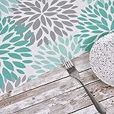 Alishomtll Tischläufer Home Decor Tischdecke Läufer Tischband Kaffeematte rutschfest Dekoration Tischdeko Hochzeit frisch Outdoor Draußen Blume 35 x 180 cm Türkis - 4
