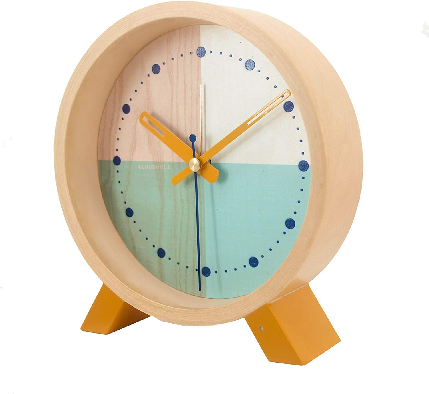 Cloudnola Flor Turquoise Desk Clock   Diam 6 Inches   Silent Mechanism + Alarm Function Great for Bedrooms or Living Rooms